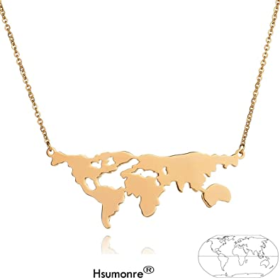 World Map Necklace Stainless Steel Pendant Globe Long Chain Necklace Continents Clavicle Charm JLW8qurxx