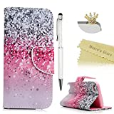 Touch 5,Touch 6 Wallet Case - Mavis's Diary Premium PU Leather with Magnetic Clasp Card Holders Flip Cover for iPod Touch 5th & 6th Generation with Crown Dust Plug & Pen (Pink and Black Gradient)