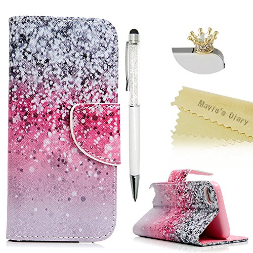 Itouch Flip Case (iPod Touch 6 Case, Touch 5 Wallet Case, Mavis's Diary Premium PU Leather with Magnetic Clasp Card Holders Flip Cover for iPod Touch 5th & 6th Generation & Crown Dust Plug & Pen - Pink & Black Gradient)