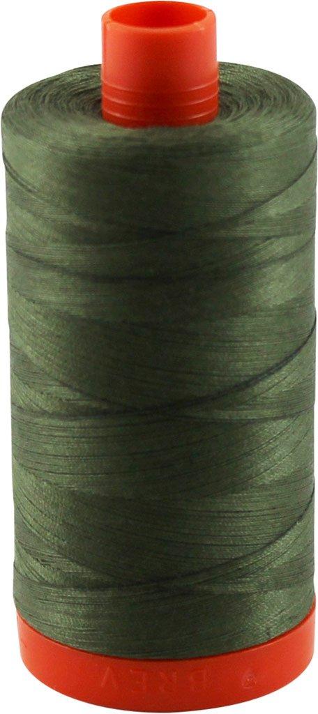 Aurifil 50wt Mako Cotton Thread 1, 422 yards - Army Green A1050-2905 MK50 2905