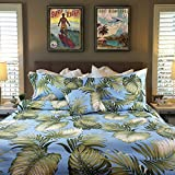 """Hibiscus Tropical Flower """"Soft Seas"""" Bedding By Dean Miller - Queen / Full Duvet Cover Set - Tropical with Shams"""