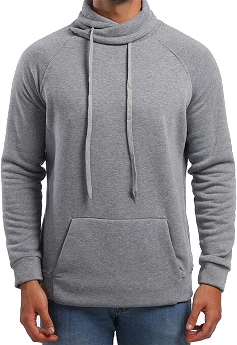 Teapolity Men Turtle Neck Slim Sport Pure Color Drawstring Pullover Sweatshirts