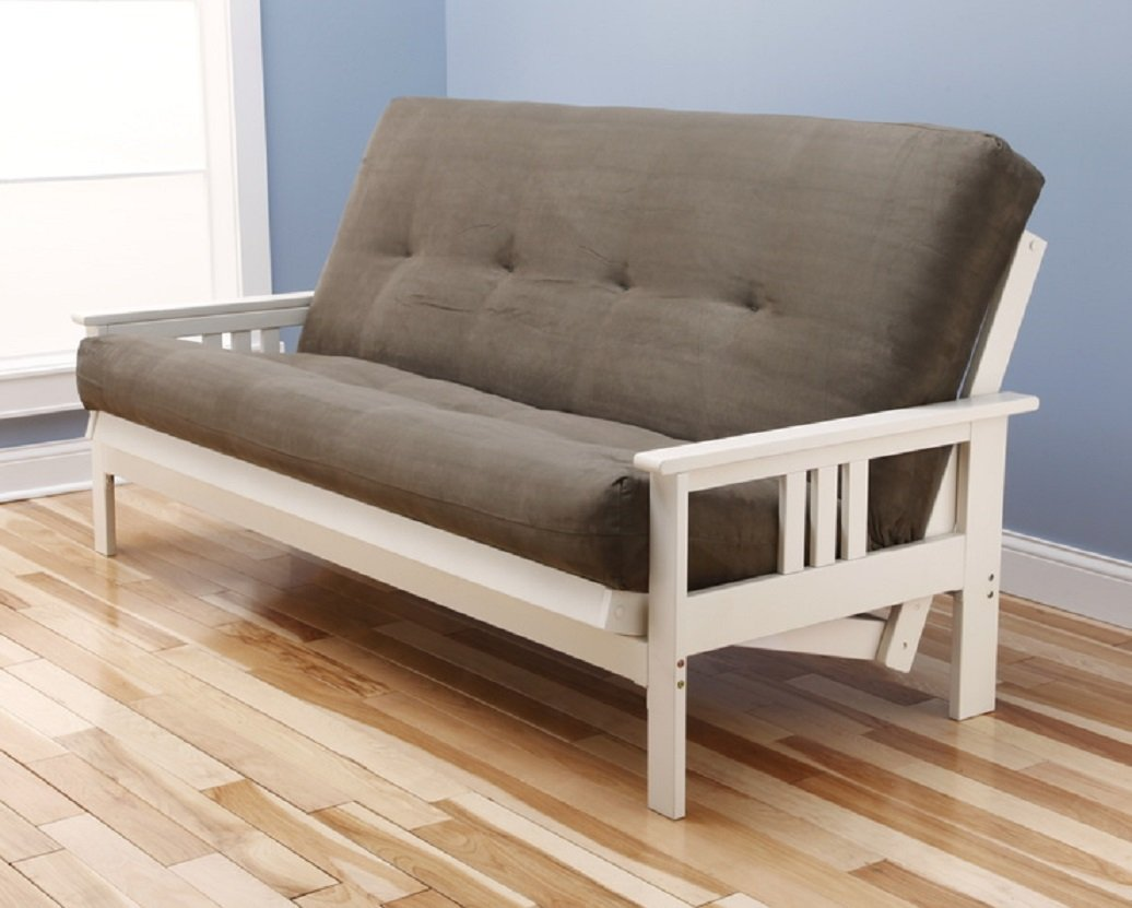 Kodiak Antique White Finish Victoria Futon Frame w Microfiber Suede 8 Innerspring Mattress Sofa Bed Set Blue