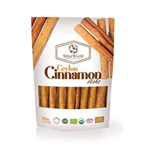 Organic Ceylon Cinnamon Sticks Quills Grade C5 of Premium Quality for the use of Sweet Savoury Dishes, Drinks 50g Manufactured & Packed in Sri Lanka