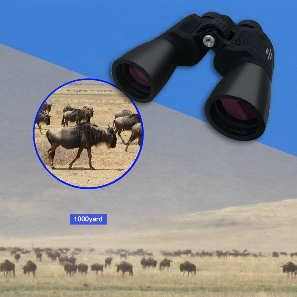 Lifebee Jumelles 10x50, Zoom Jumelles Prismes de Porro Légères Lentilles  Asphériques Protection UV Champ visuel a772f7380bf2