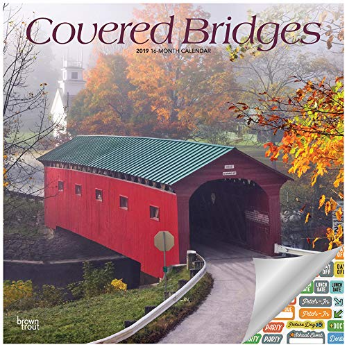 Covered Bridges Calendar 2019 Set - Deluxe 2019 Covered Bridges Wall Calendar with Over 100 Calendar Stickers (Covered Bridges Gifts, Office Supplies)