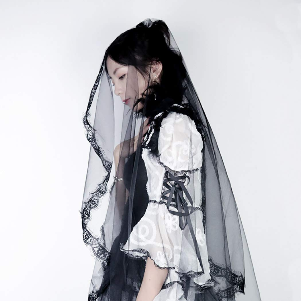 Barode Bride Wedding Veil Black Long Flower Applique Edge Fingertip Length Lace Bridal Hair Accessories for Women