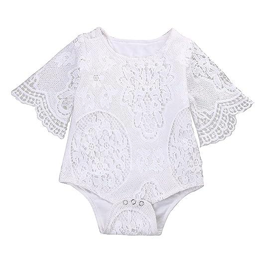 7ba616656 Infant Baby Girl White Lace Ruffles Sleeve Romper Sunsuit Bodysuit (60cm/0-3