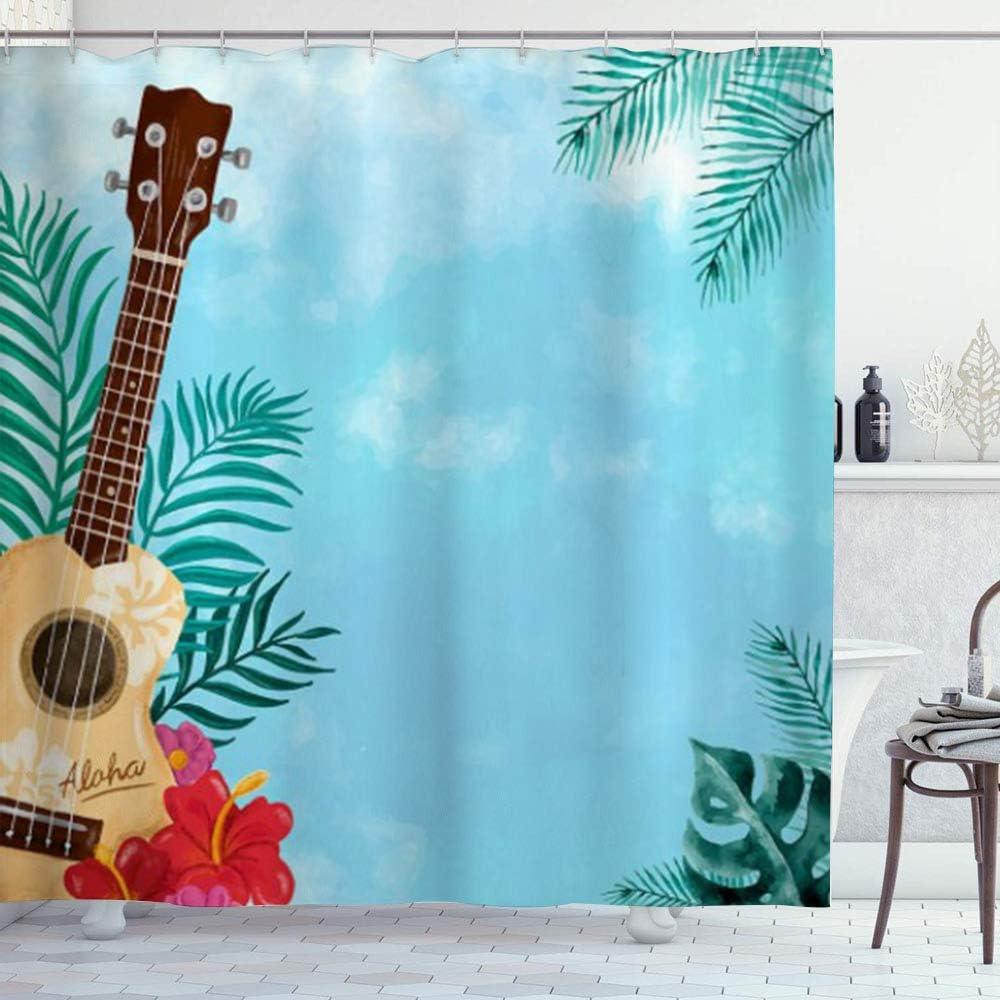 DYCBNESS Cortina de Ducha,Ukelele Hawaiano Guitarra Tropical Palm Leaves Hibiscus Aloha Stall música de Verano,Material Resistente al Agua Durable Cortina de Baño Impermeable,180 x 180 cm