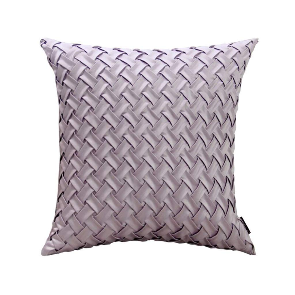 ZDNALS Solid Color Pillow, Square Woven Cushion, Water Ripple Home Decoration Bed Cushion Multi-Color Optional 45cm×45cm Pillow (Color : A)