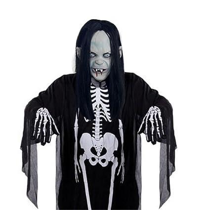 FHDUY Ghost Mask Mascara De Halloween Disfraz Mascara De Horror Toda La Cabeza Vampiro Castidad Long