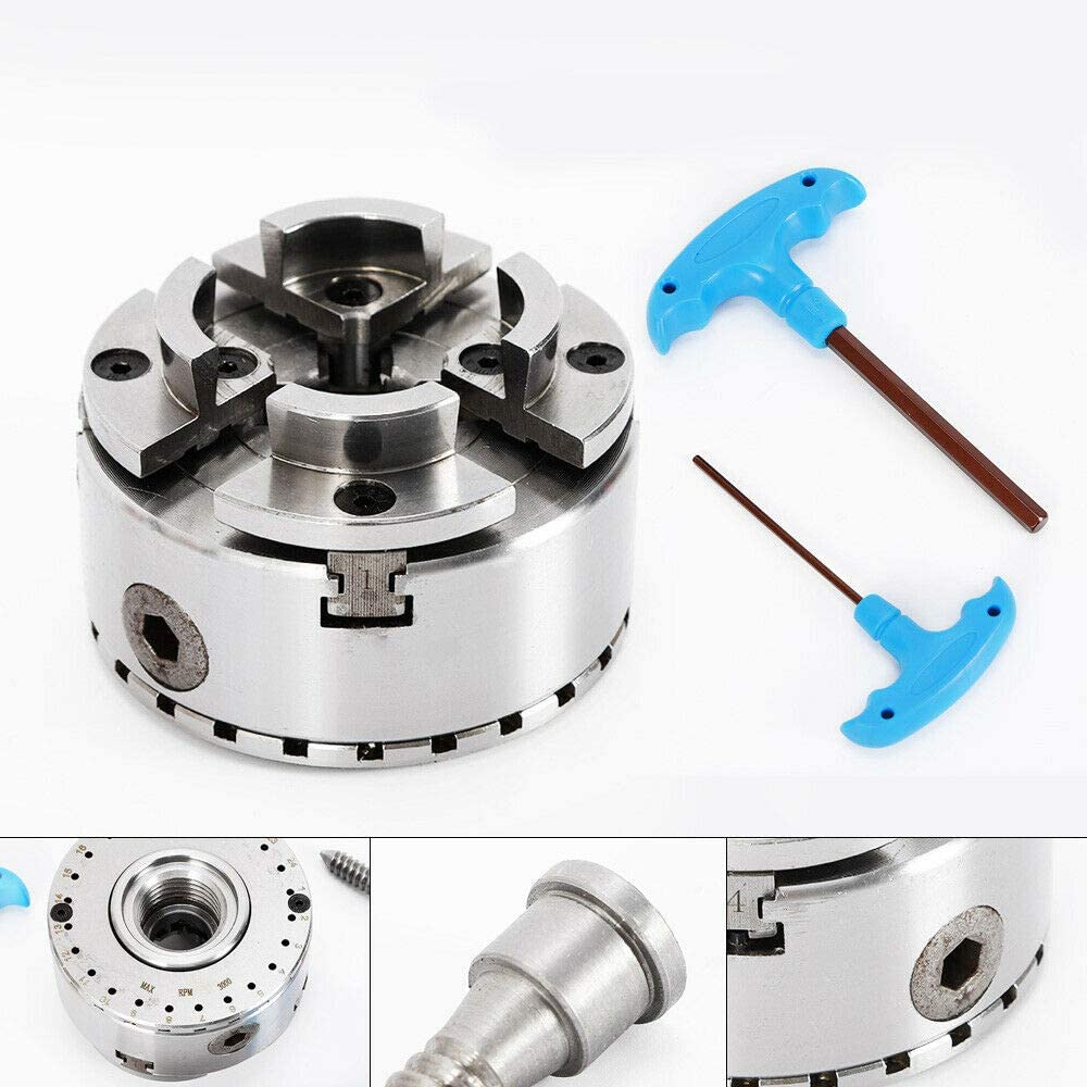 Four-jaw chuck Adjustable self-centering four-jaw chuck Spindle wood lathe M33 three-jaw chuck
