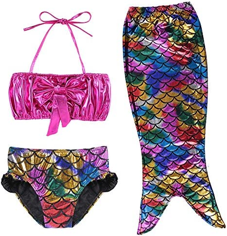 3 Pcs Girls Star Swimming Suit Mermaid Tail Fishtail Skirt  Swimwear ZG8