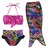 TFJH E 3PCS Kids Bathing Suit Swimsuits for Girls Fancy Princess Swimmable Fish Tail Set 6-7Years Colorful 130