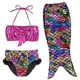 TFJH E 3PCS Kids Girls Fancy Princess Swimmable Fish Tail Set 6-7Years Colorful
