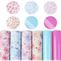 """David Angie Solid Colors Floral Faux Leather Sheet Transparent Synthetic Leather Sheet Assorted 6 Pcs 7.9"""" x 13.4"""" (20…"""