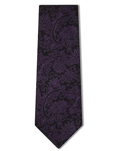 b36cedc3b7a7 Origin Ties Men's Elegant Necktie Stylish Paisley 100% Silk Tie Black and  Purple at Amazon Men's Clothing store: