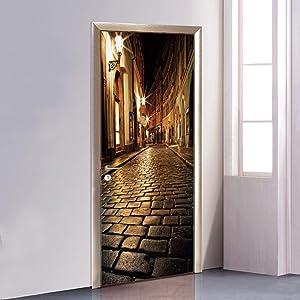 CUGBO Door Wallpaper Murals 3D Alley at Night Door Wallpaper Sticker Self Adhesive Vinyl Removable Art Door Decals for Home Decoration