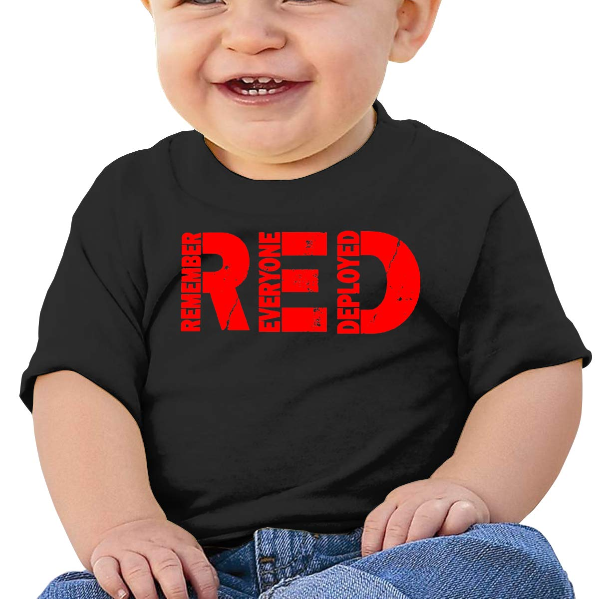 Red Friday Remember Everyone Deployed Baby Girls Newborn Short Sleeve T Shirts 6-24 Month Soft Tops