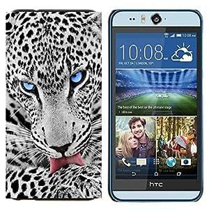 YiPhone /// Prima de resorte delgada de la cubierta del caso de Shell Armor - OJO AZUL SNOW LEOPARD - HTC Desire Eye M910x