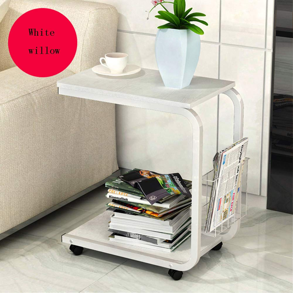White willow color XIAOYAN End Table Side Table Laptop Table Small Computer End Strap Storage and Casters Sofa Table Bedside Table Multifunction (color   White Willow color)