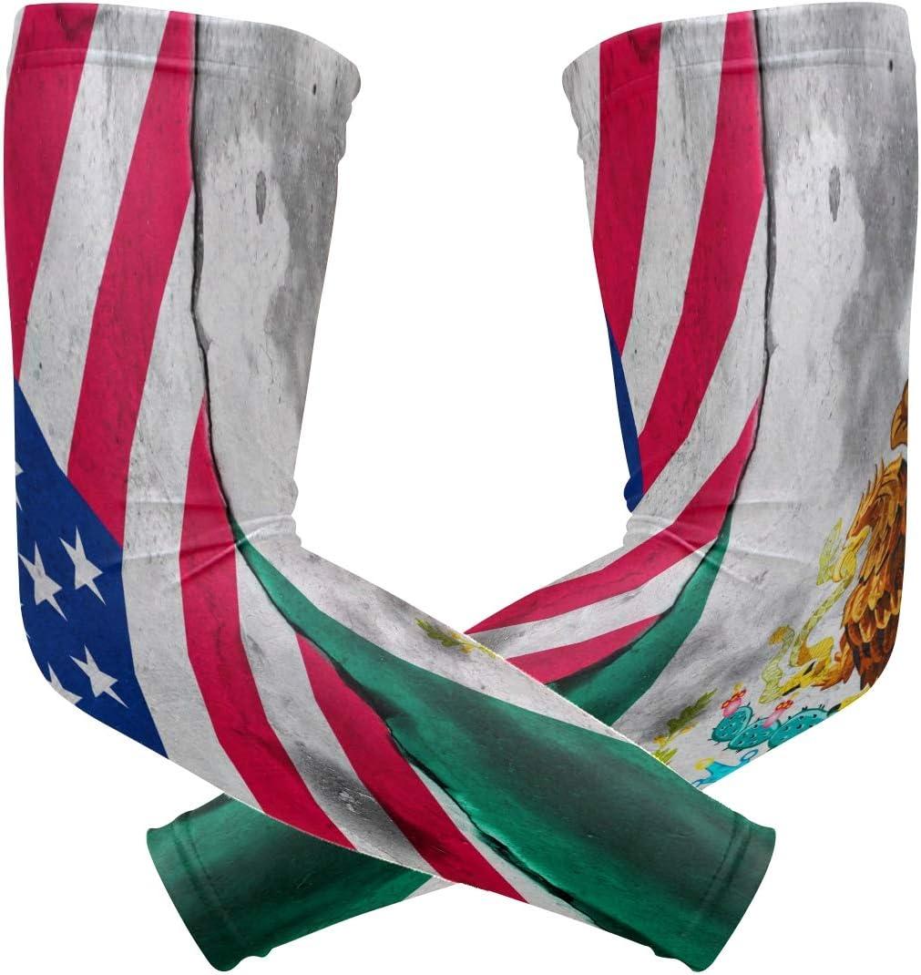 ZZKKO - Mangas para brazo de refrigeración con bandera de México americana, protección solar UV para hombres y mujeres, para correr, golf, ciclismo, 1 par: Amazon.es: Salud y cuidado personal