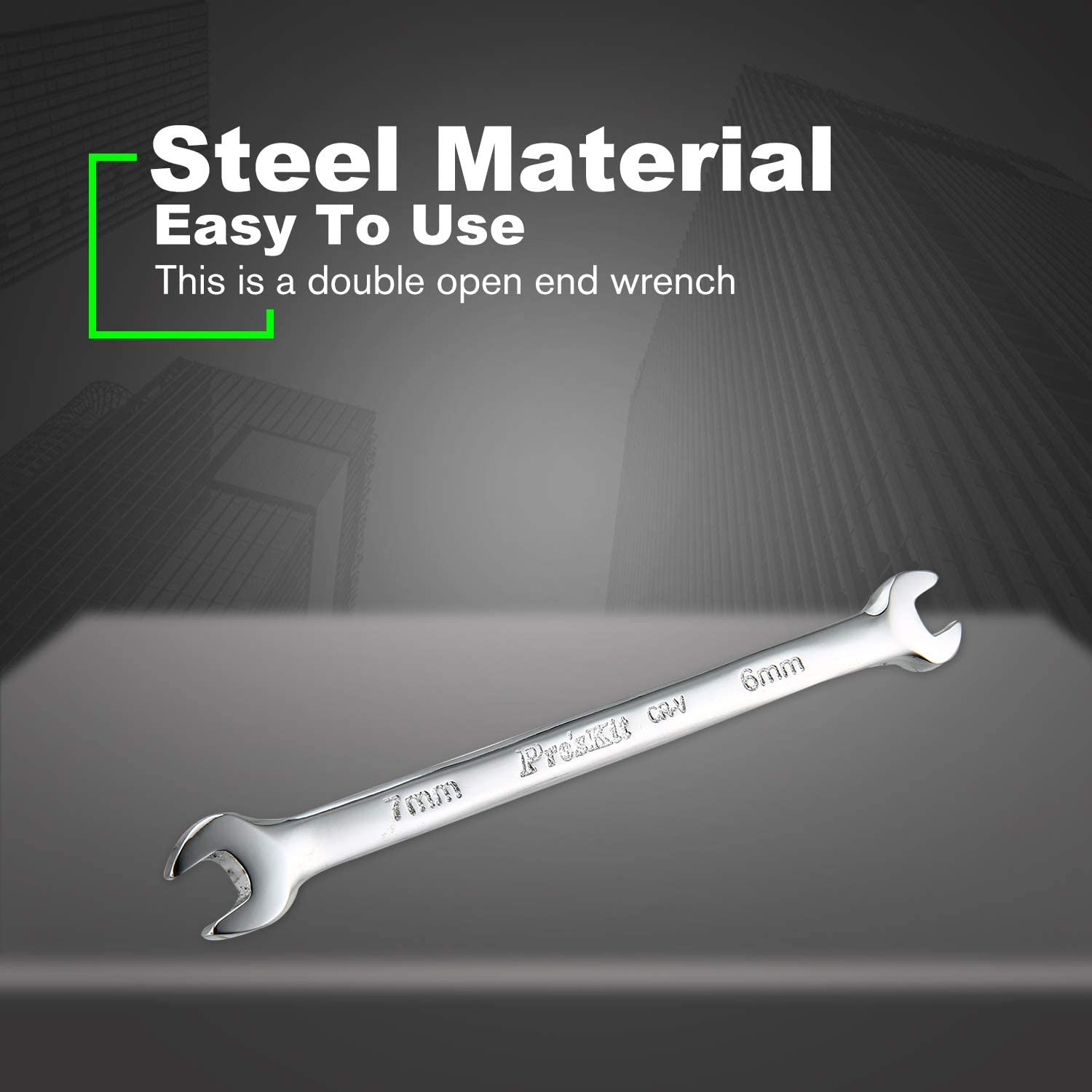 Wrench Proskit 7mm//6mm Mirror Polished Double-headed Double Open End Wrench Universal Spanner Steel Hand Tools