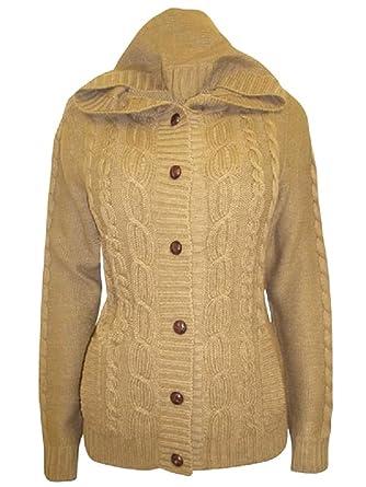 Zara - Chaqueta de punto con marrón trenzado y cierre de botón ...