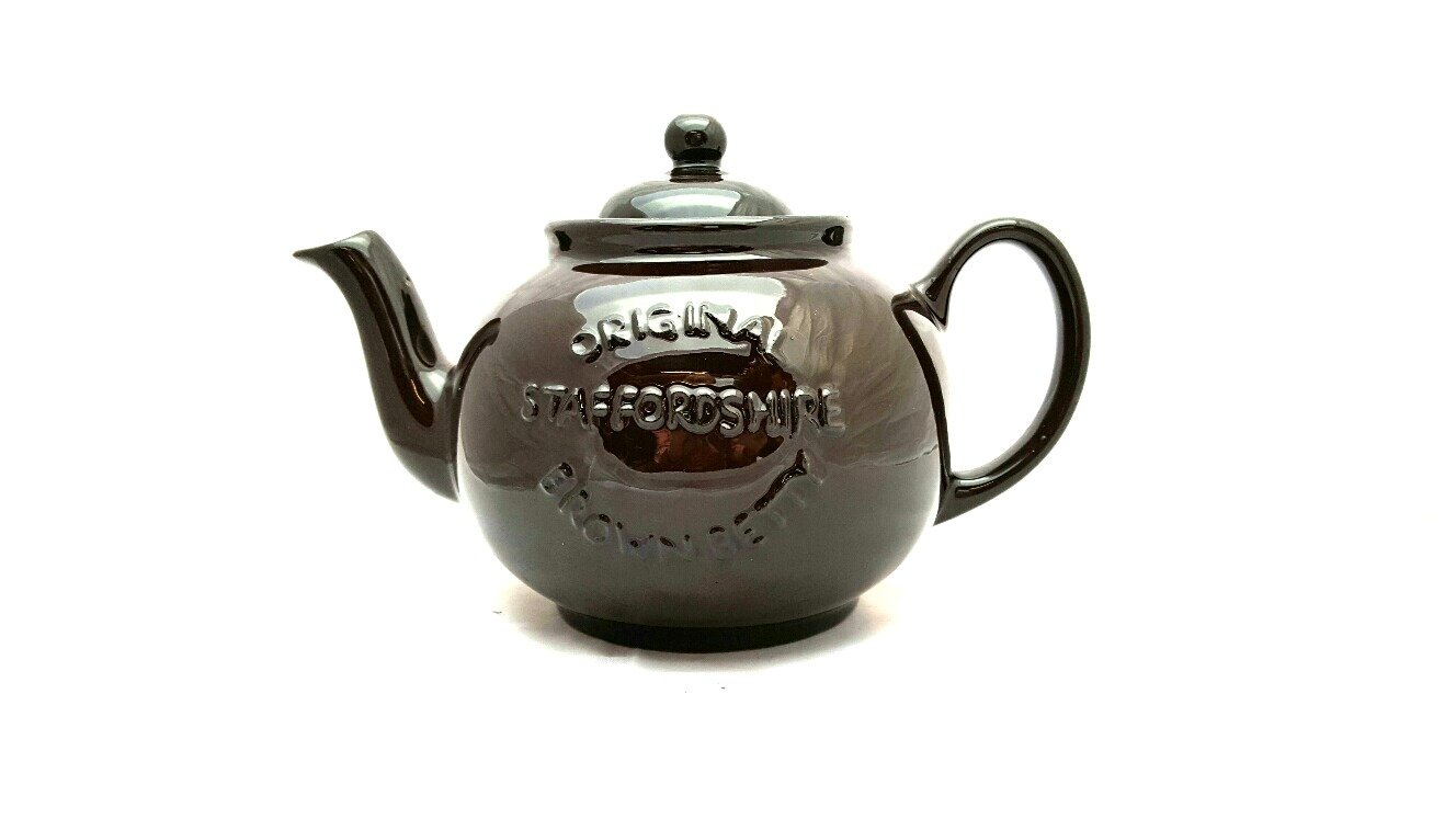 Handmade Original Brown Betty 6 Cup Teapot in Rockingham Brown with ''Original Staffordshire'' Logo