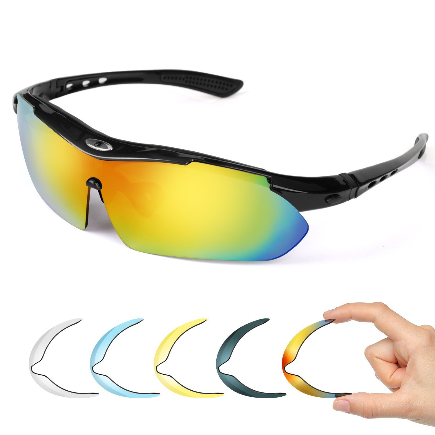 757896ebc4 Polarized Sport Sunglasses with 5 Fashion Lenses - FITFORT UV400 Protection  Tr 90 Adjustable Nose Pad Glasses for Men Women Cycling Beach Baseball  Fishing ...
