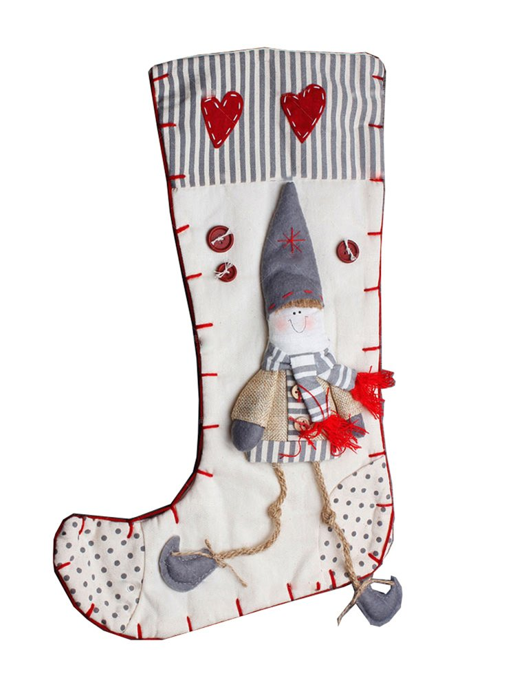 Deluxe Father Christmas Stocking 3d Snowman Boys Girls 16.9 Inches Dot Heart (grey)