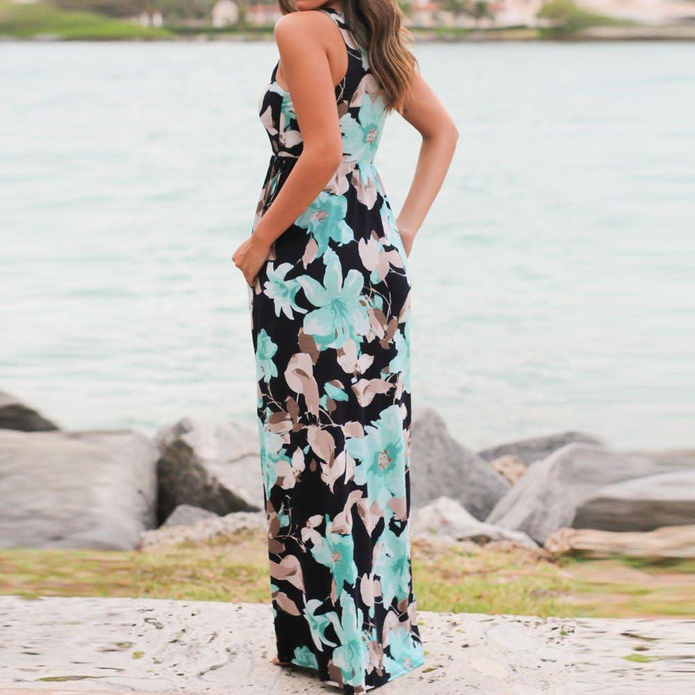 Women Sleeveless Floral Print Maxi Dress with Pockets Hotkey Womens Summer Casual Sleeveless