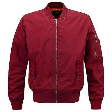 91c0d8c413fe CROTI Men s Flight Jacket Bomber Jackets Lightweigh Coat Windproof  Waterproof Outwear Red