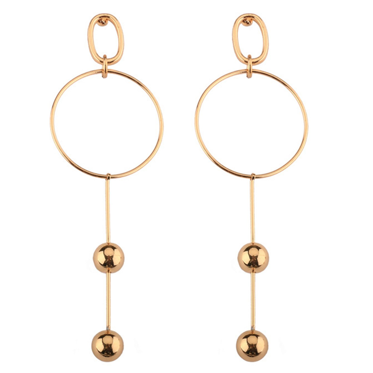 Gold Plated Studded Drop Dangle Earrings Women's Gift Idea Fashion Infinity Sterling Silver Lightweight Sleek Chain Tassel