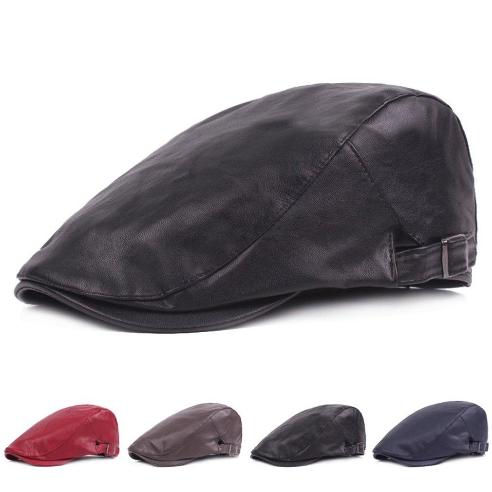 f04486db773 RICHTOER Men Newsboy Cap Leather Beret Leather Cap Flat Caps Winter Driving  Caps (Black) at Amazon Men s Clothing store