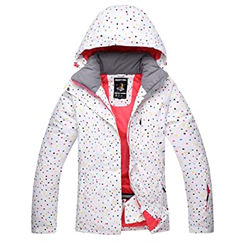 Zjsjacket Traje de Esqui White Dot Snow Suit Mujeres Chaquetas de Snowboard Invierno Impermeable Deporte Espesar