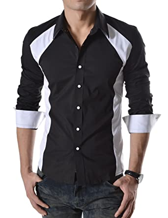 4fe6575570 TheLees (N330) Mens Casual Slim Fit 2 Tone Long Sleeve Stretchy Shirts  Blackwhite US