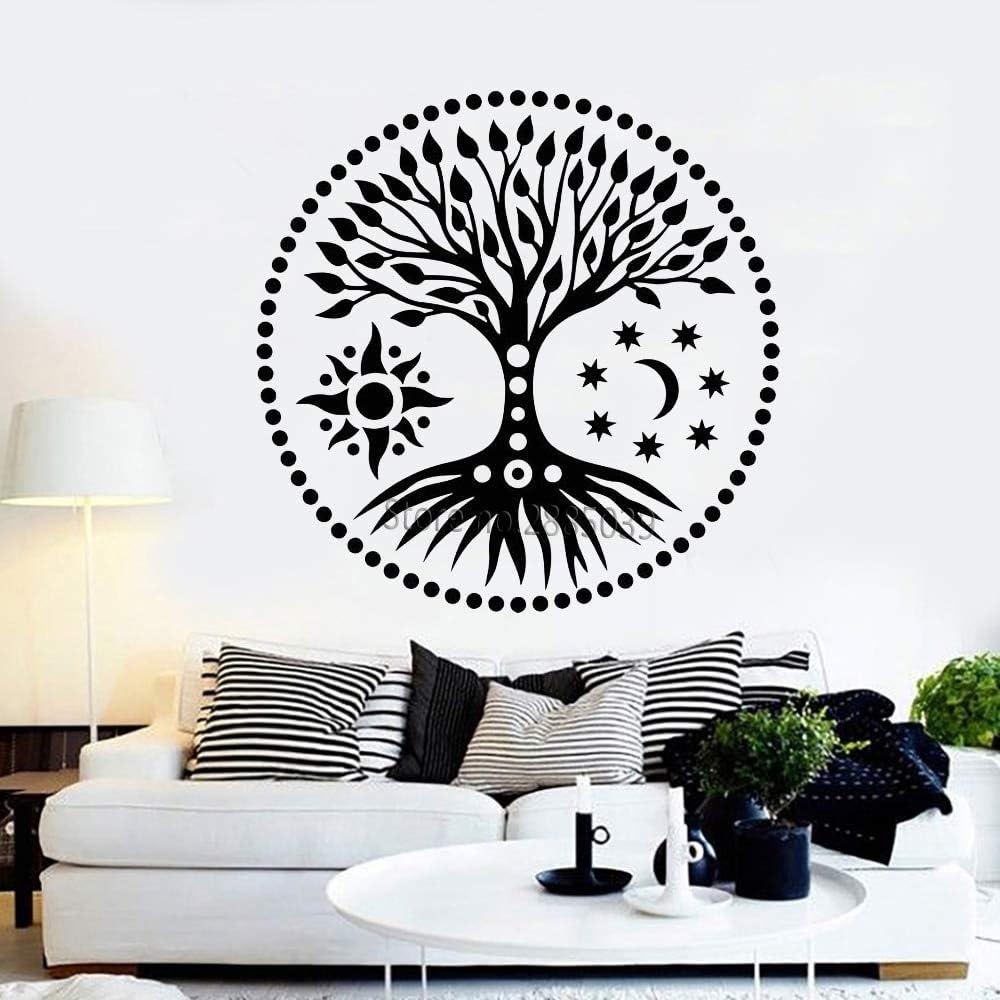 Geiqianjiumai Tree of Life Sun and Moon Stars Vinilo Adhesivo de Pared Estilo étnico Autoadhesivo Etiqueta de Pared de árbol Grande Resumen 77.4X77.4CM: Amazon.es: Hogar
