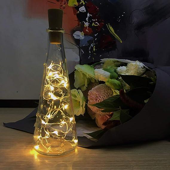 LED Corcho Botella Luces, Botella de vino Luces con corcho,8PCS/2 metros con 20 LED Luces de cadena de alambre de cobre para botella Decoración de, Reunión, ...