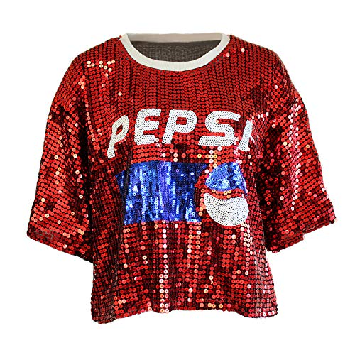 Plus Size Pepsi Cola Sequin T Shirt for Teens Youth Glitter Holiday Glitter Tops Red