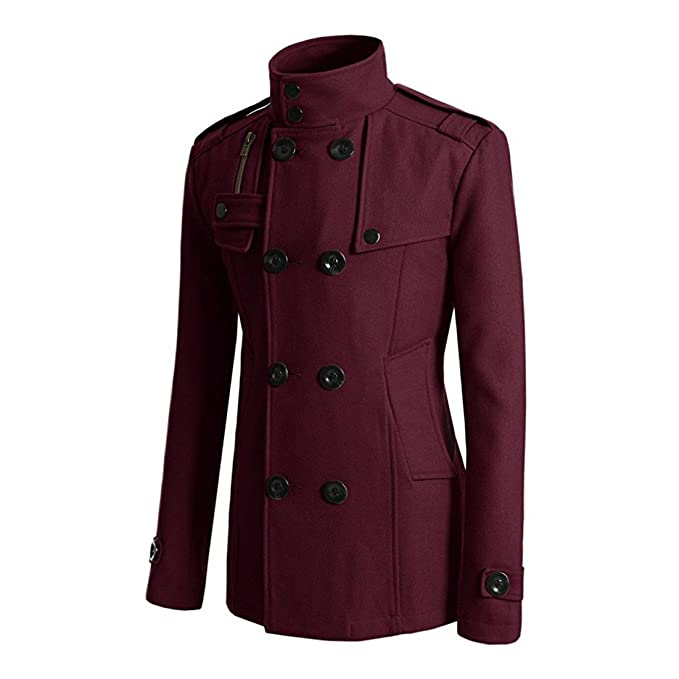 e3e2c08fe3a6 HDH Men\'s British Jackets Slim Fit Double Breasted Half Trench Coat (Wine