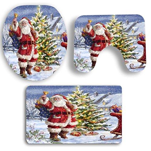 (Printed Rug, Vanvler 3PCS Christmas Bathroom Non-Slip Pedestal Rug + Lid Toilet Cover + Bath Mat Set (D) )