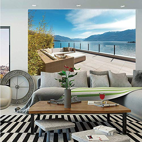 (Coastal Decor Wall Mural,Summer Spring Penthouse by Lake Sea Mountain Branches Print,Self-Adhesive Large Wallpaper for Home Decor 83x120 inches,White Green and Light Brown)