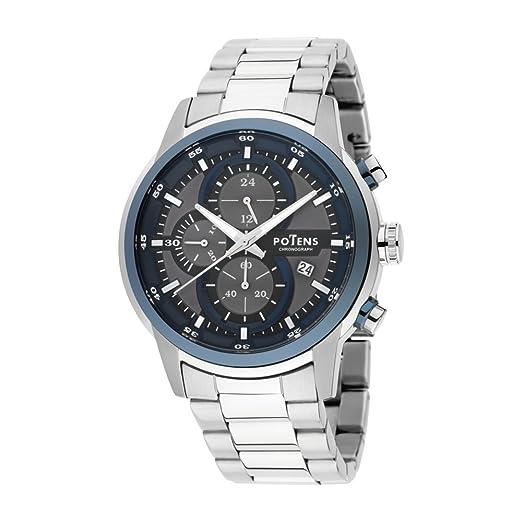 Potens 40-2863-0-3, Reloj de Hombre, acero inoxidable.Cronografo: Amazon.es: Relojes