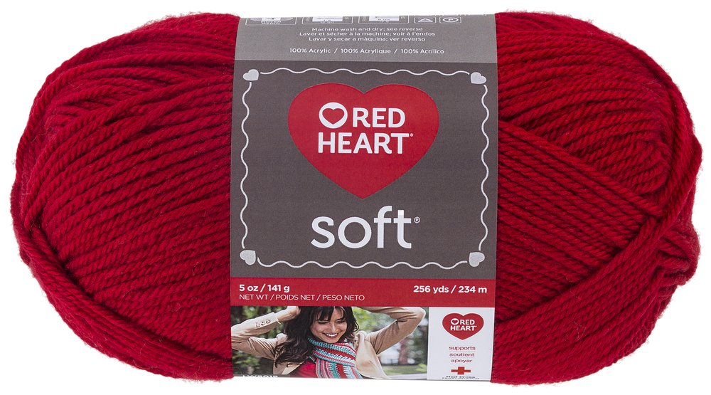 RED HEART E728.9925 Soft Yarn, Really Red