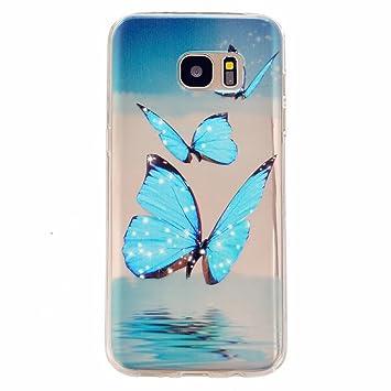 coque samsung s7 edge papillon bleu