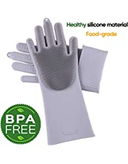 Magic Washing Scrubber Heat Resistant Silicone Gloves Dish Washing Rubber Gloves Reusable Kitchen Household Brush for Cleaning, Car Washing, Pet Hair Care (Grey)