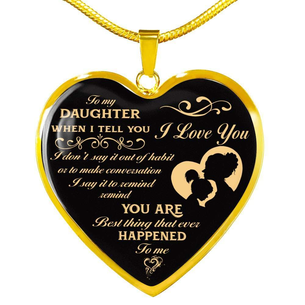 Daughter Beauty Necklace for Daughter from Mom Dad to Daughter Birthday Gifts for Girls Xmas Gifts for Her Heart Pendant On Birthday Free Luxury Box