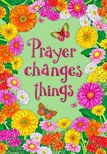 """Oración cambia las cosas Bandera 12""""x18"""" Jardín de Flores y Mariposas"""