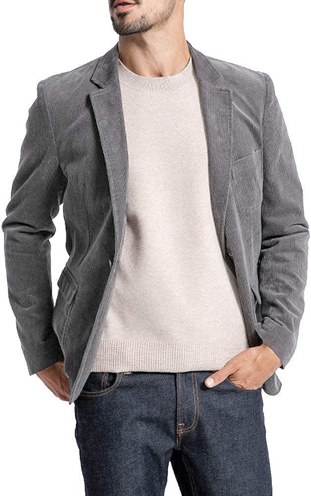 Mens Winter Casual Corduroy Blazer Slim Fit One Button Sport Coat Suit Jacket Notched Lapel
